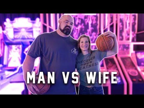 WHO'S GOT BETTER HOOPS?   420LB MAN VS. WIFE