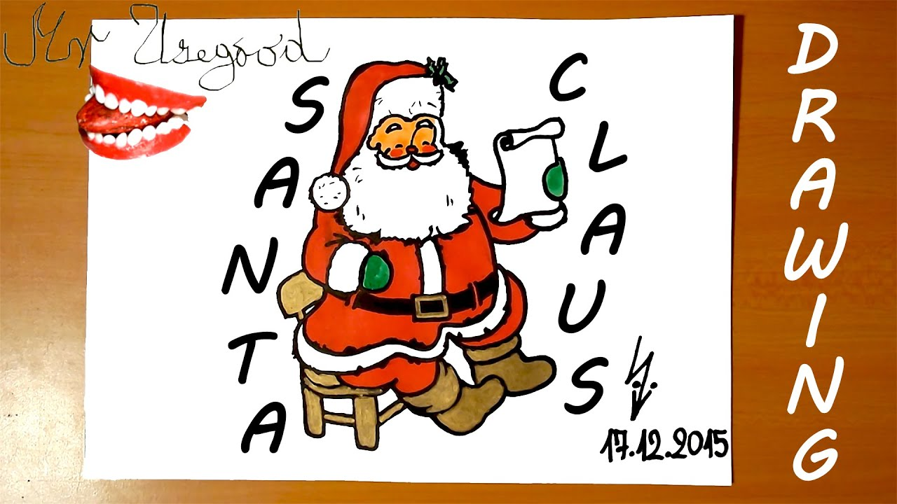 how to draw santa claus easy for kids full body christmas