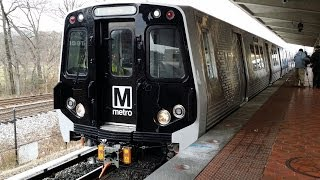 WMATA 7000-Series quad set departs Greenbelt Metro station