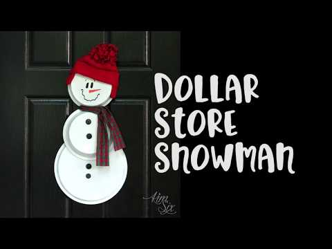 Dollar Store Pizza Pan & Pie Plate Snowman