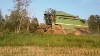 John Deere 2266E vs. crossing river and harvesting in the mud