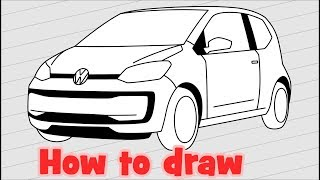 How to draw a car Volkswagen up!
