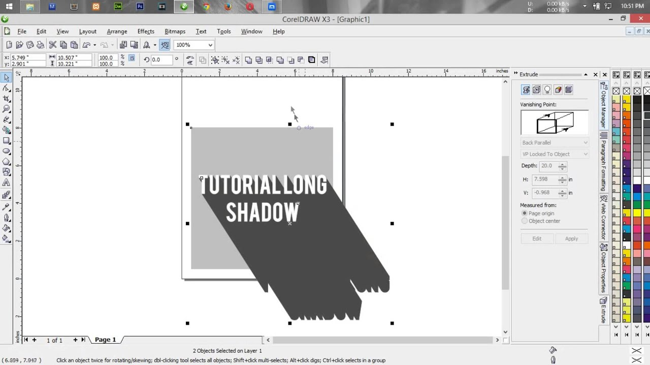 How To Make A Book In Coreldraw : Totorial coreldraw long shadow using extrude effect