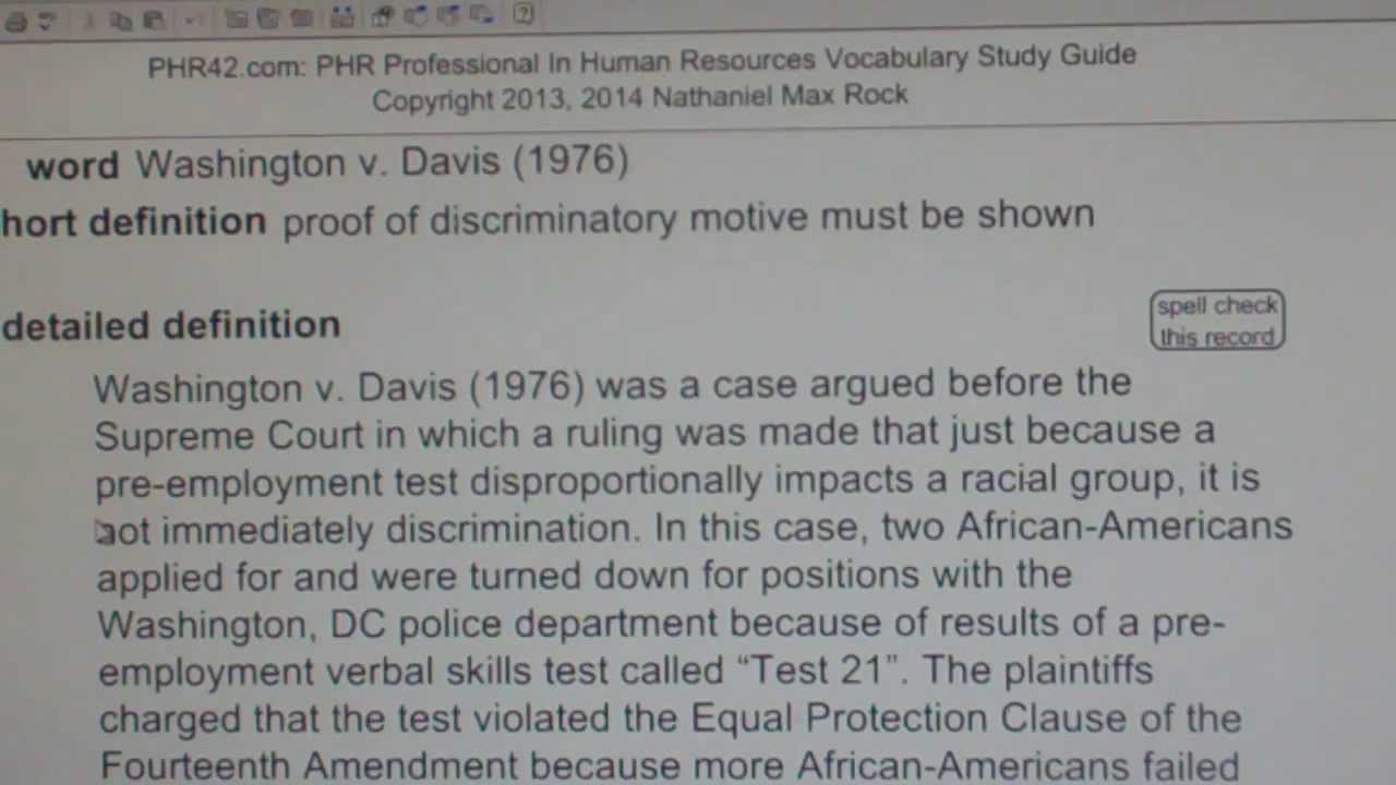 Washington v davis 1976 phr sphr professional in human davis 1976 phr sphr professional in human resources license exam vocabubee xflitez Images