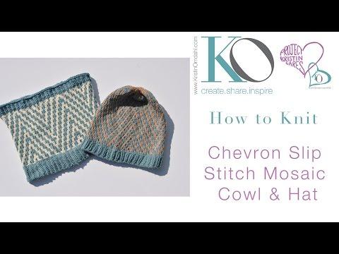 Knit Chevron Mosiac Hat Cowl Brave