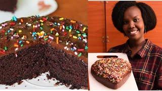 Uko wateka cake ya chocolate kw&#39iziko rya gas (HOW TO MAKE CHOCOLATE CAKE AT HOME WITHOUT OVEN)