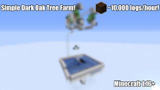 Simple and Efficient Dark Oak Tree Farm for Minecraft 1.16.1+ (~10,000 logs/hour) | Tutorial