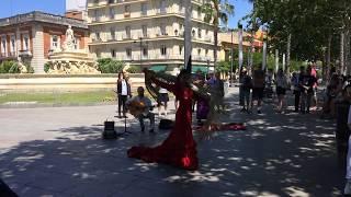 Flamenco street performer in seville, spain, 15 may 2018