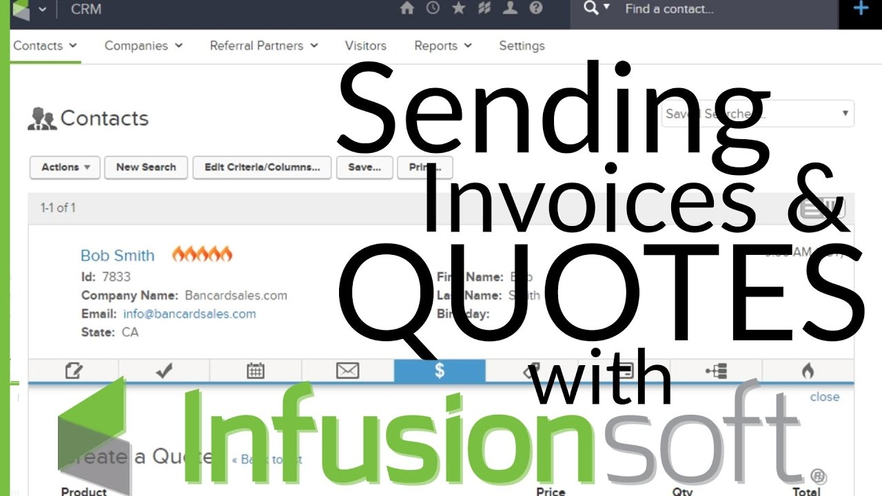 Infusionsoft Invoice How To Create A Quote And Send An Invoice - Invoice quote
