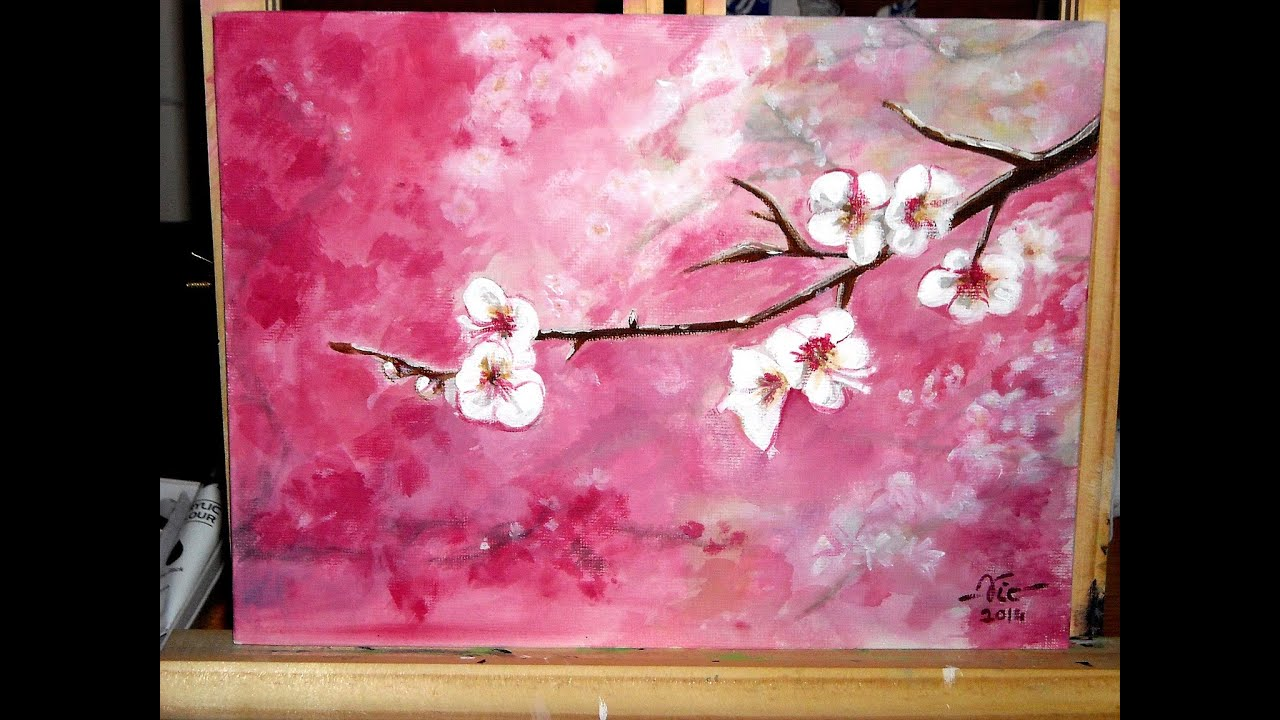 Timelapse acrylic painting cherry blossoms how to paint for Canvas painting of cherry blossoms