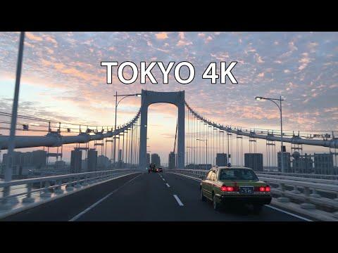 Tokyo 4K - Skyline Expressway Sunrise - Rainbow Bridge - Driving Downtown