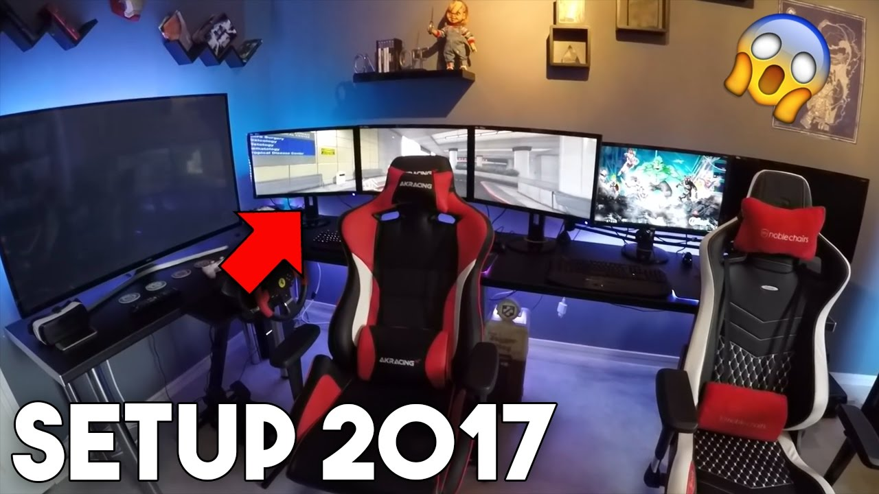 les 5 meilleurs setup gaming 2017 de youtuber youtube. Black Bedroom Furniture Sets. Home Design Ideas