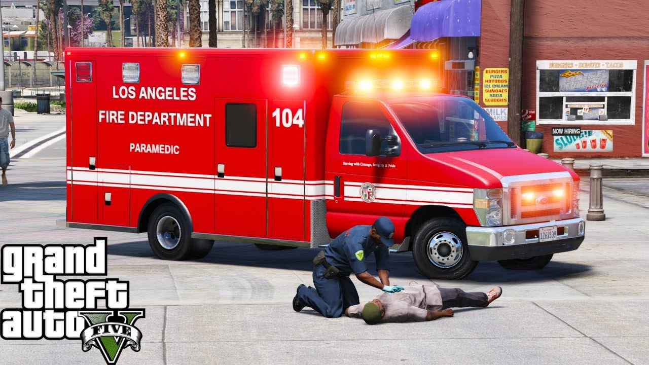 GTA 5 Play As A Paramedic Mod 40 | LAFD Rescue EMS Ambulance With ELS |  Forget Your Shoes!