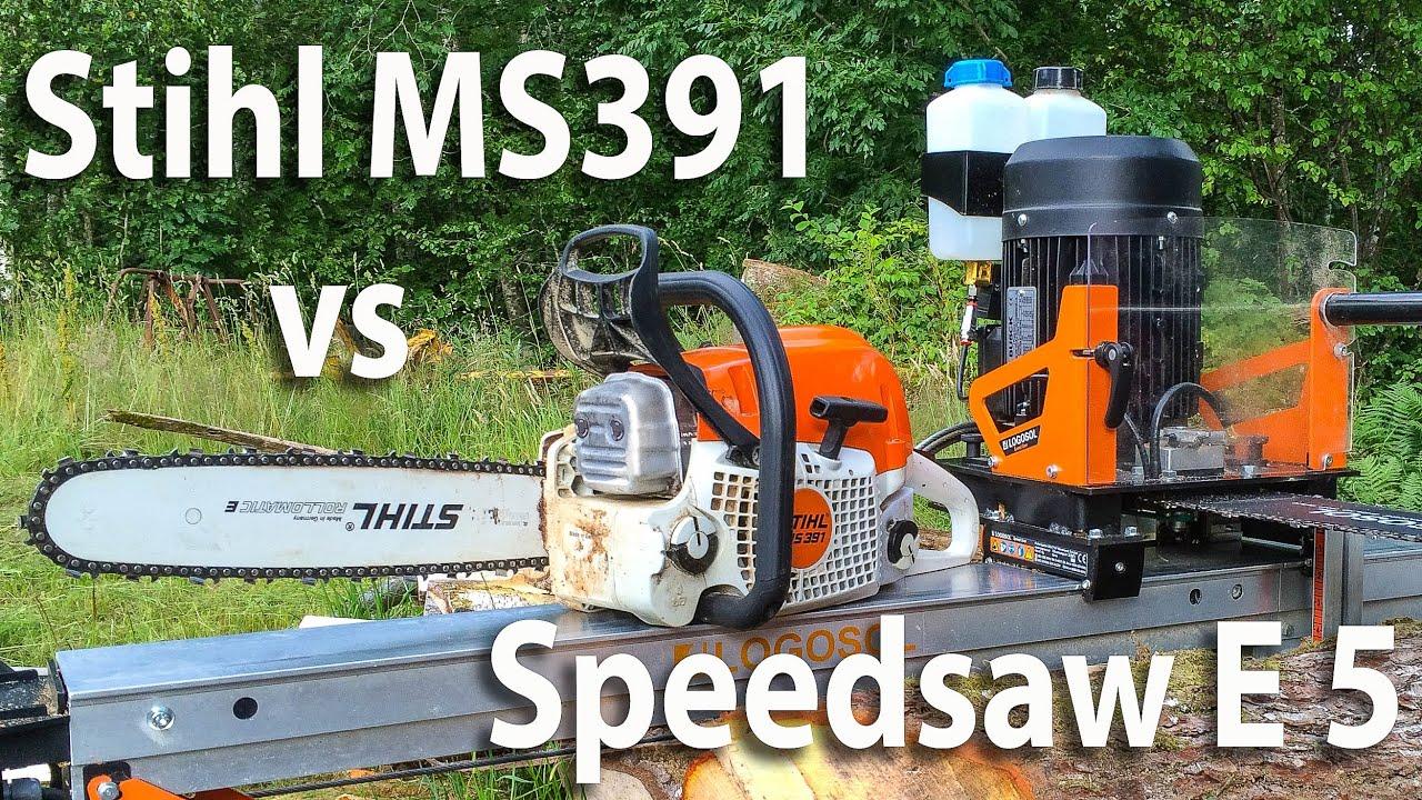 Race day stihl ms391 vs speedsaw e5 youtube