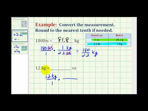 Examples:  Convert Weight Between the Standard and Metric System
