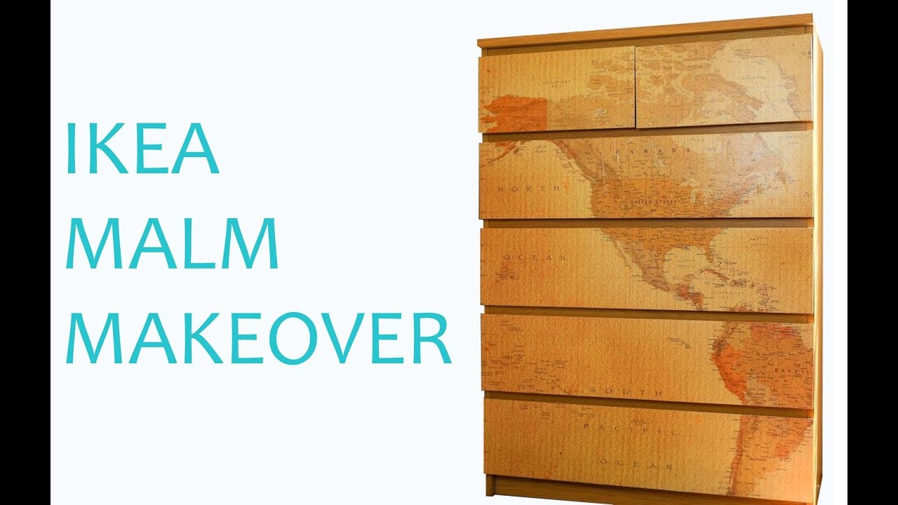 Malm Kommode Shabby Chic Ikea Hack Malm Drawers Makeover Using Map Wallpaper Easy Diy