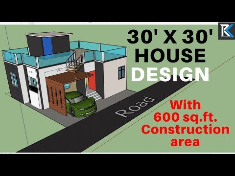 30' X 30' 3d house design 600 sq ftconsArea|| RK Survey & Design
