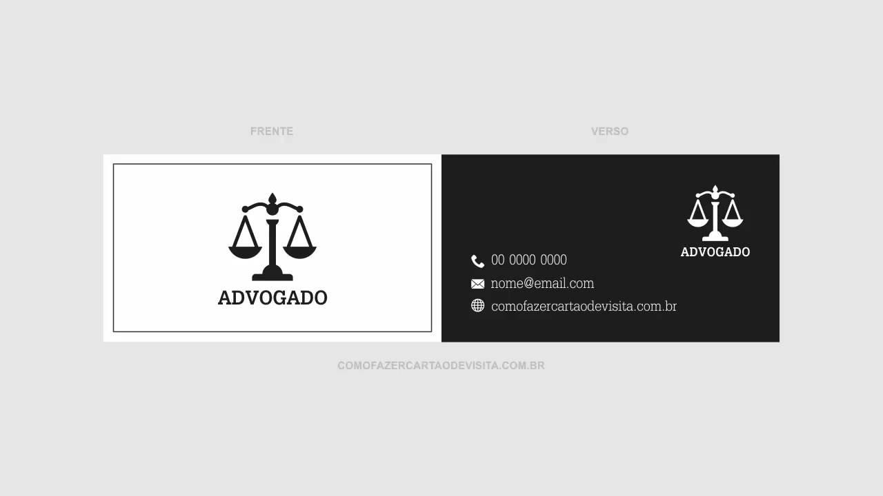 Suficiente Modelo de Cartão de Visita Para Advogado (Vetor) - YouTube XE06