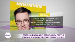 Origo.hu: Karácsony Gergely nem fizeti ki a nyugdíjasoknak ígért fűtéstámogatást