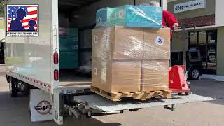 Pallets of goods shipping out to the troops around the world
