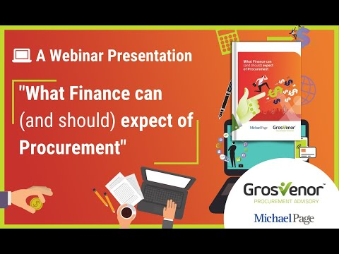 What Finance can (and should) expect of Procurement - A Webinar