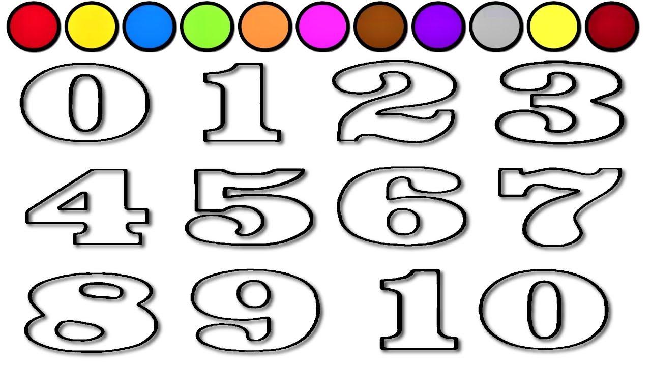 çocuklar Için 0dan 10a Kadar Sayıları öğrenme Ve Boyama Sayfası