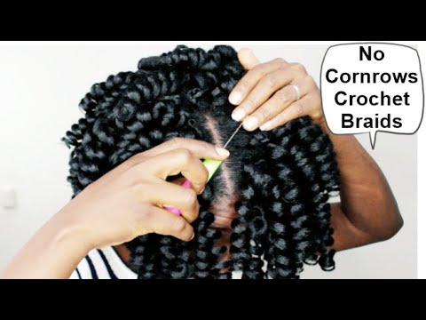 NO CORNROWS CROCHET BRAIDS WITH $2 HAIR - IF YOU CAN'T CORNROWS THIS VIDEO IS FOR YOU - HOW TO