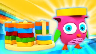 Toy cartoons for kids - Build a pyramid with Hop Hop the Owl! - Shapes and colors for children.