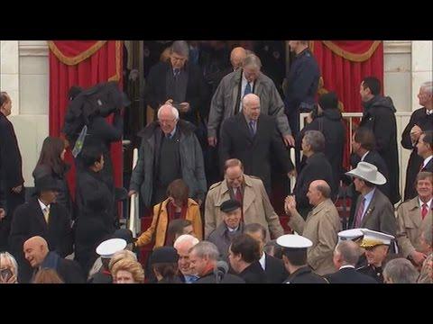 Bernie Sanders arriving to the 2017 Presidential Inauguration