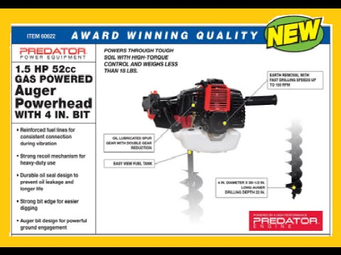 Harbor Freight 52cc 2 Cycle Gas Powered Auger 60622 Good Option Below Youtube