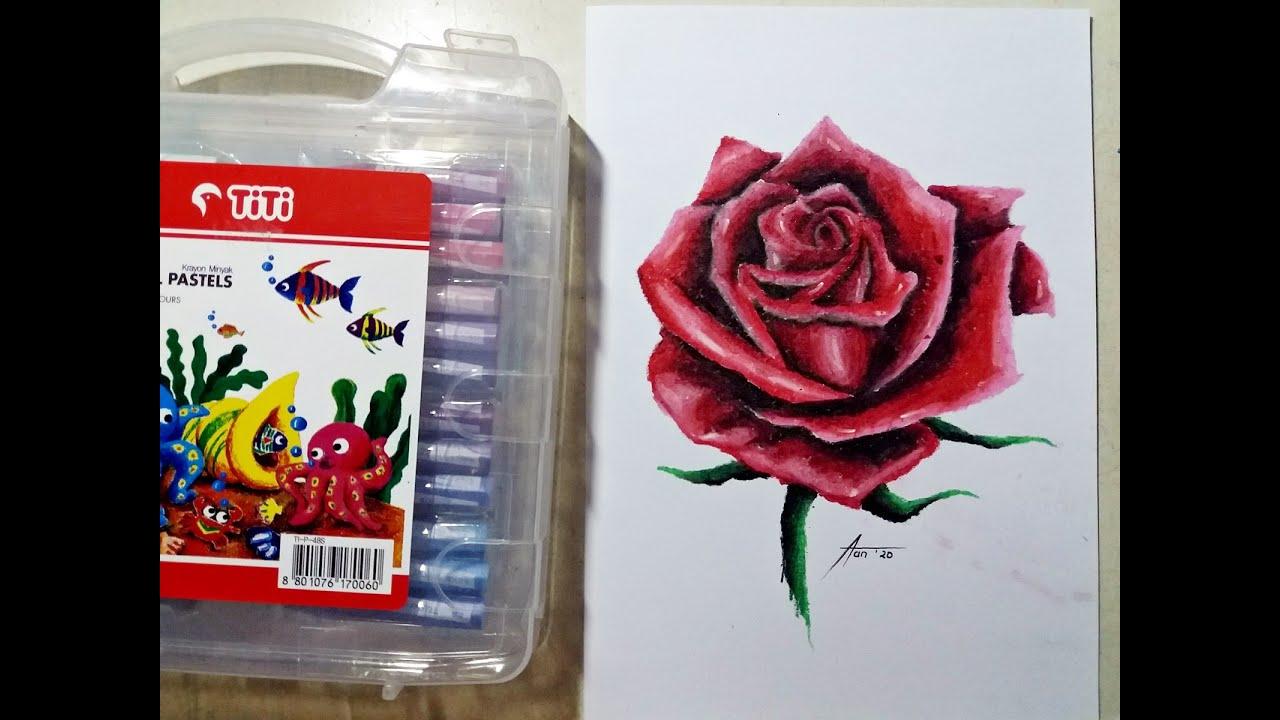 Menggambar Mewarnai Bunga Mawar Menggunakan Crayon How To Draw Color A Rose With Crayon Youtube