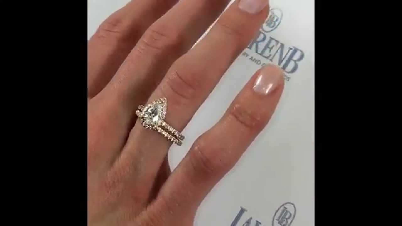 Ring Diamond Promise 14k Rose Gold Halo Teardrop Design 1 Ctw 3 4 Carat  Pear Cut Halo Bridal Set Wedding Band Man Made