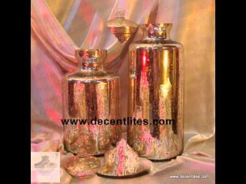 DECENT LITES ANTIQUE SILVER GLASS JAR