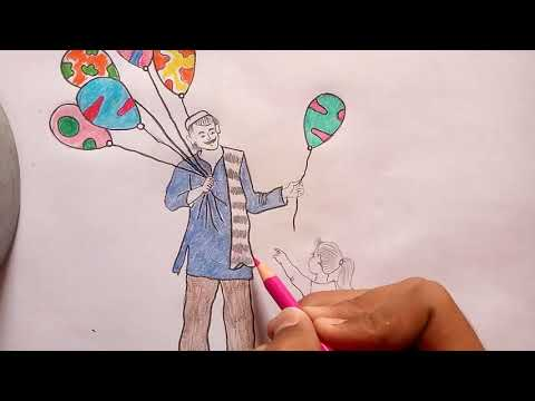 How to draw memory drawing - Balloon seller l Balloon seller drawing