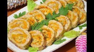 Мясной рулет с сыром и грибами ✧ Горячая Закуска на Праздничный стол
