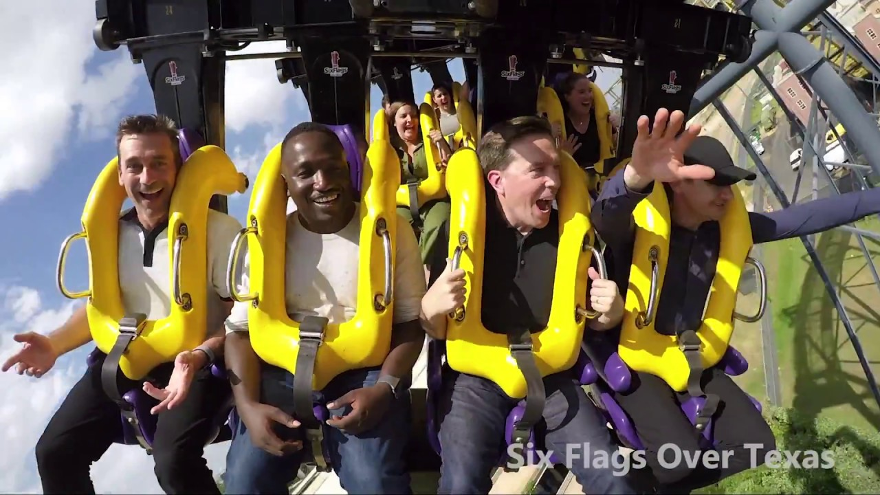 'Tag' Celebrities Ride Batman The Ride Roller Coaster at Six Flags Over  Texas