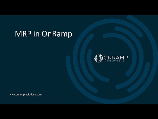 OnRamp MRP Tutorial
