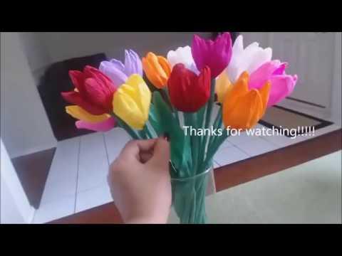 Cara Membuat Bunga Tulip Dari Kertas Krep Yang Unik Youtube
