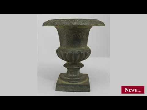 Antique Continental style (modern) cast iron urn with ogee