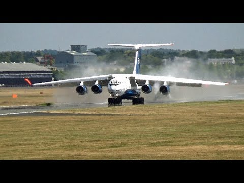 🇦🇿 Impressive Azerbaijan Cargo ILyushin IL-76 Landing at Farnborough Airport UK