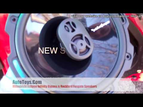 mitsubishi eclipse infinity amp bypass and rockford fosgate speakers  installation by autotoys com - youtube