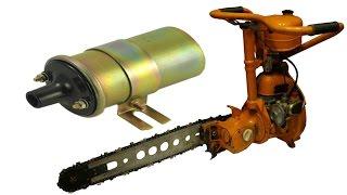 Бензопила Дружба - подключение катушки(В видео я покажу как подключить высоковольтную катушку от автомобиля на 12 вольт к зажиганию бензопилы..., 2016-02-17T19:56:12.000Z)