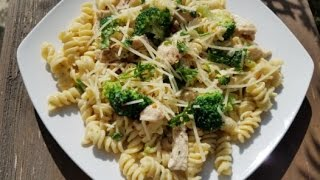 Chicken & Broccoli Rotini Alfredo Pasta Recipe - Simple & Cheap !!