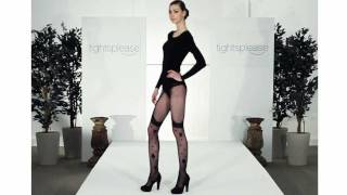Skinny Model with Long Legs Wears Saucy Suspender Tights on Catwalk