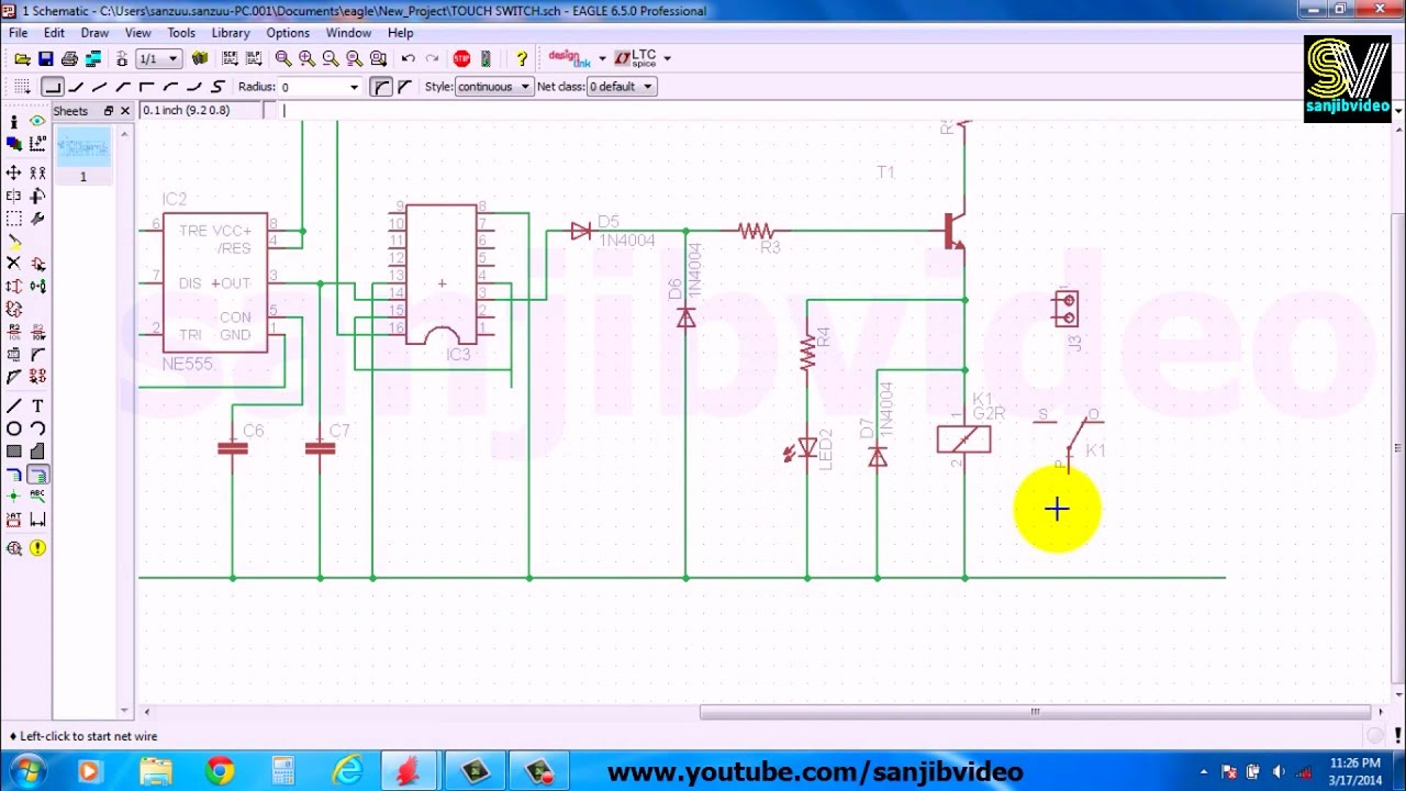 EAGLE # 3 of 12 : CONNECT COMPONENT : How to Design Circuit - YouTube