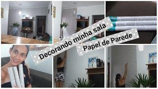 Decorando minha sala com papel de parede ❤ custo de 45,00 R$