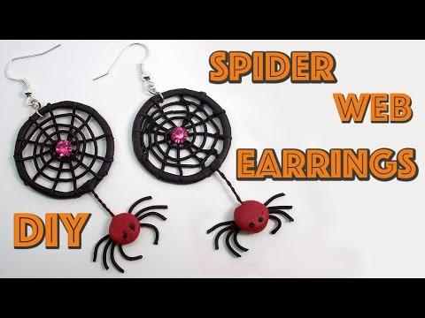 DIY Spider Web Earrings -  Halloween Crafts - Polymer clay tutorial