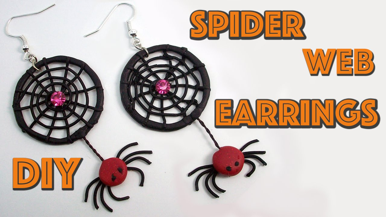 diy spider web earrings halloween crafts polymer clay tutorial