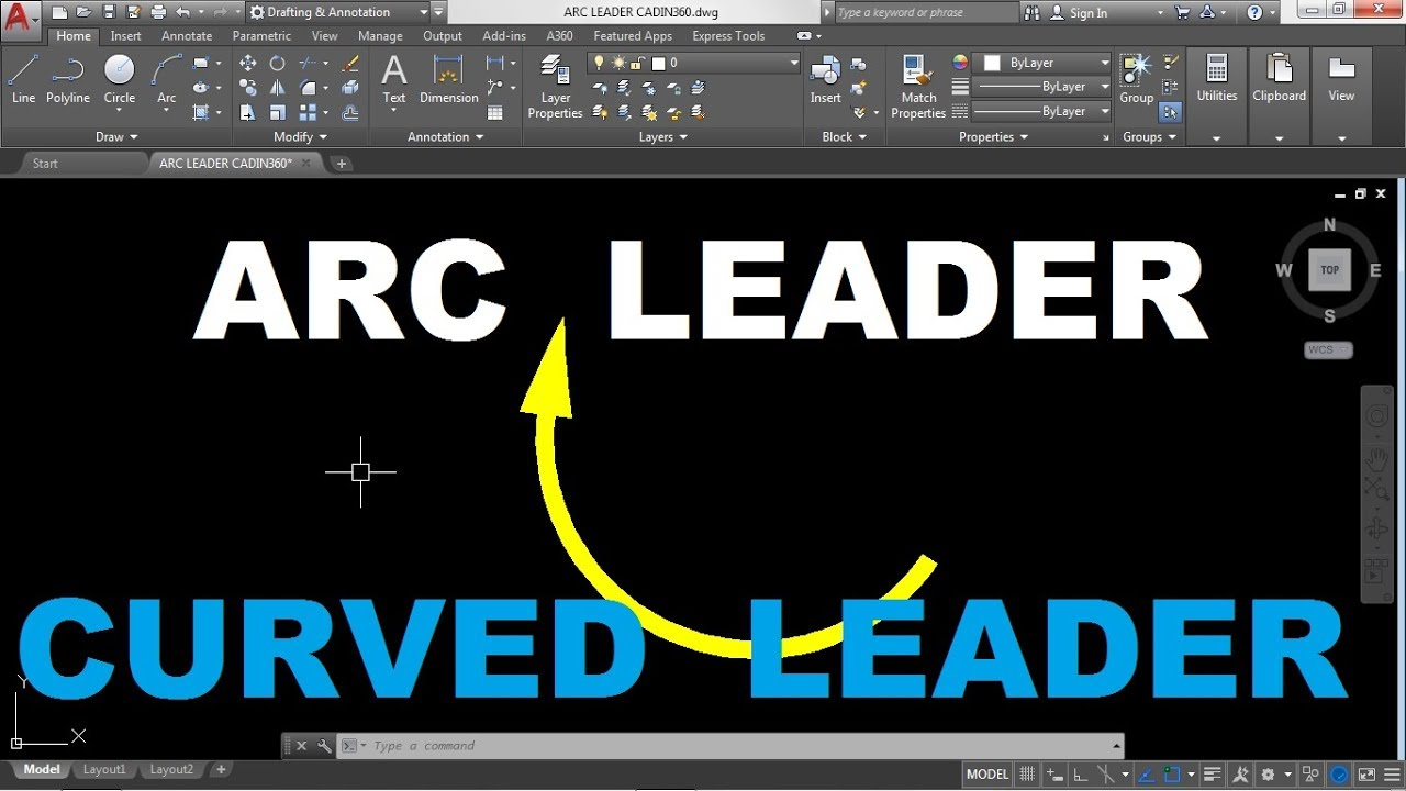 How to draw an Arc leader or Curved Leader in AutoCAD 2018