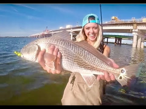 Beach Fishing For BIG FISH, BIG DRUM In OUTER BANKS! 'GIRL CAN FISH! It's Time For BULL DRUM FISHING